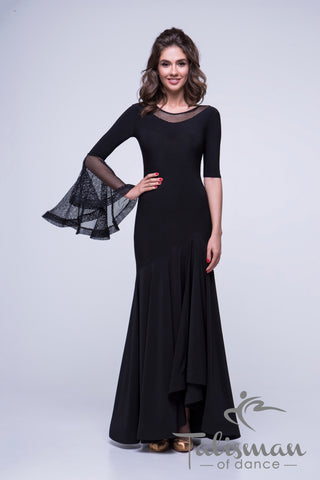Ballroom Dress with Single Decorative Bell Sleeve Design & Asymmetric Hemline for practice, performance, DanceSport and social dancing or evening wear.