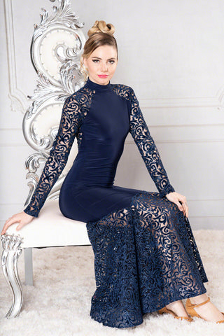 dance america long lace ballroom dress, evening gown with long lace sleeves and high neckline from dancewear for you, long lace ball dress, formal dress australia