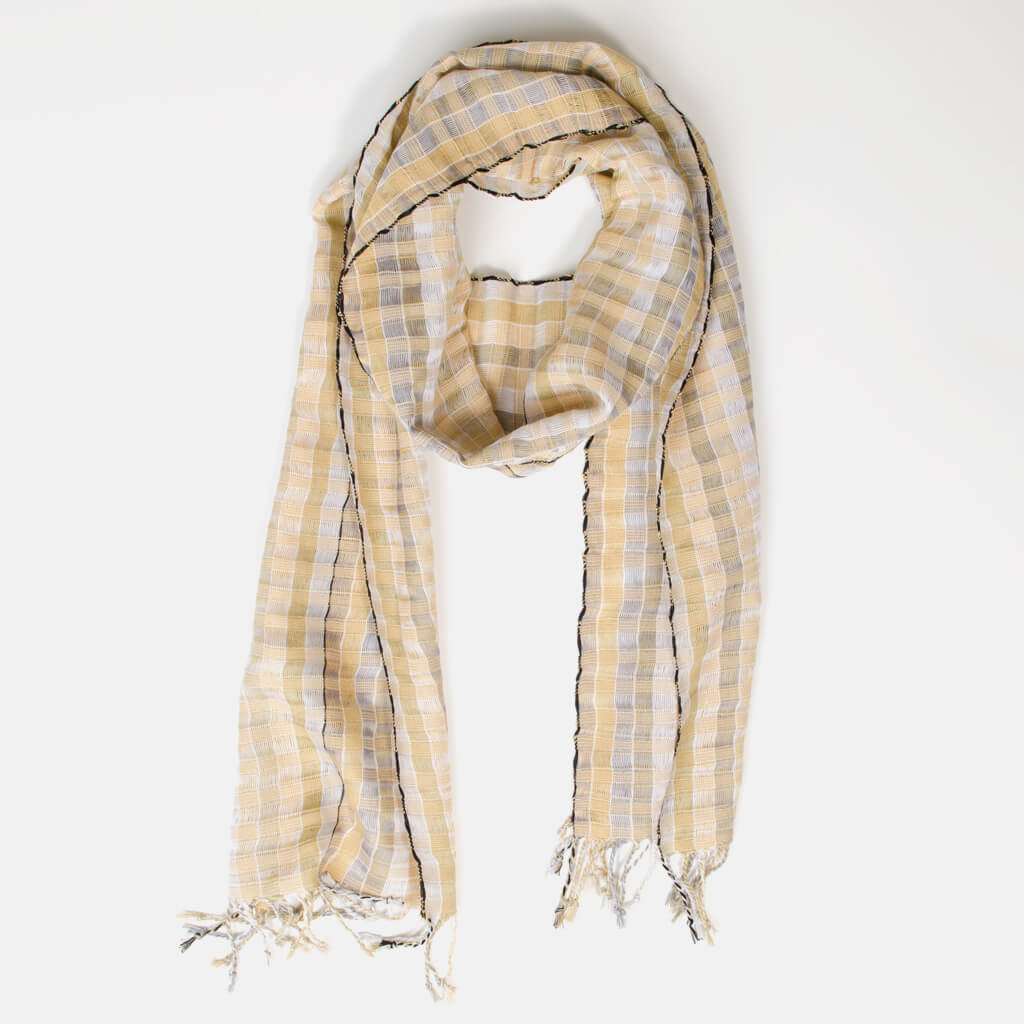 Fringed Gossamer Scarf | Champagne & Pearls