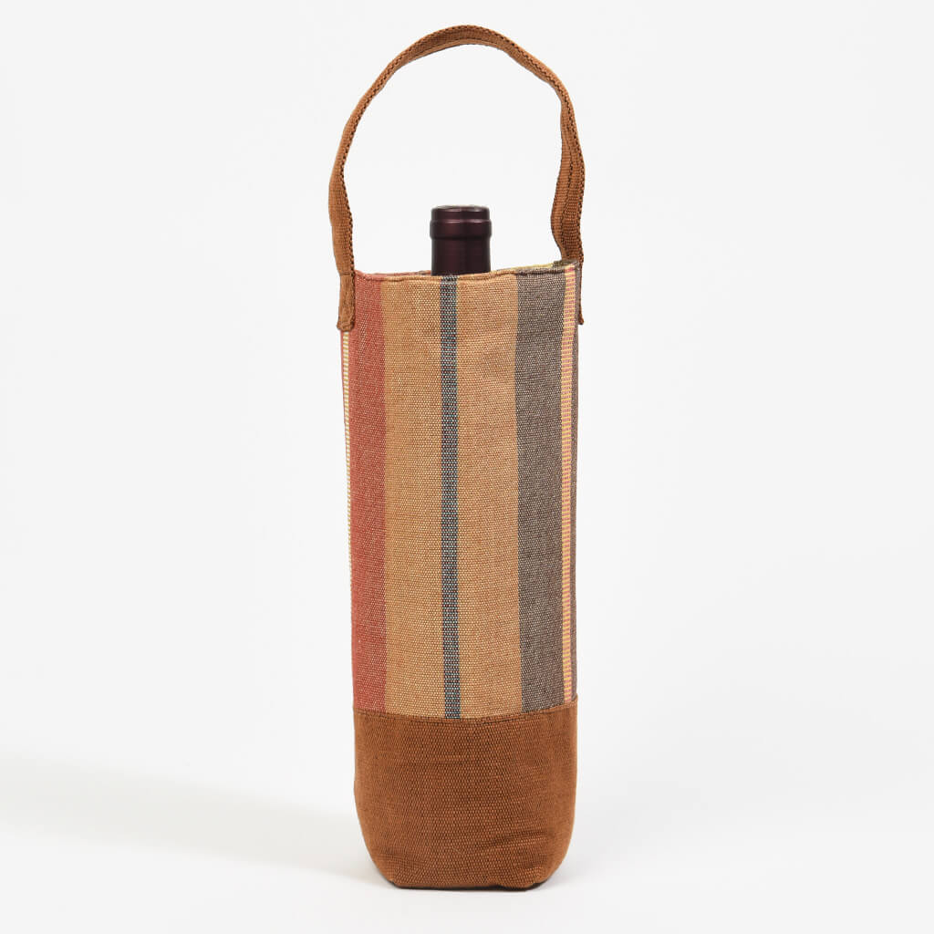 Wine Bottle Tote | Single in Wide Caramel Stripe