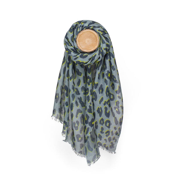 Leopard Print Scarf, Mid Grey & Yellow