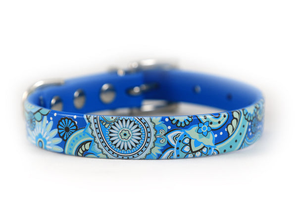 Blue Paisley Waterproof Dog Collar 3/4