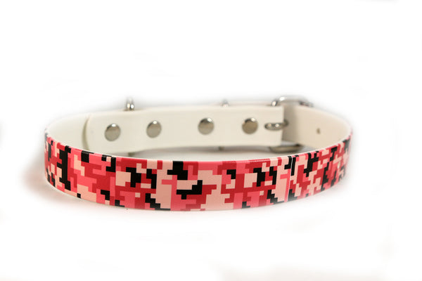 Pink Camouflage Waterproof Sport Dog Collar - 1 inch