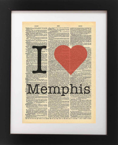 I Heart Memphis Tennessee Vintage Dictionary Print