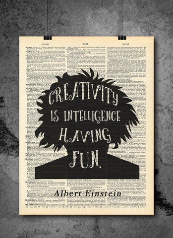 Albert Einstein | Creativity Quote - Vintage Dictionary Wall Art Print - Intelligence Quote