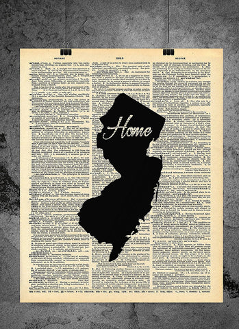 New Jersey State Vintage Map Vintage Dictionary Print