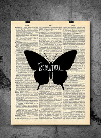 Butterfly Beautiful Wall Art - Vintage Dictionary Art - Inspirational Art