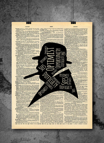 Winston Churchill Optimist Quote Vintage Art - Authentic Upcycled Dictionary Art Print