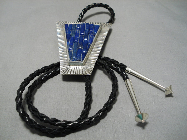 Biggest Huge Lapis Sterling Silver Detailed Bolo Tie