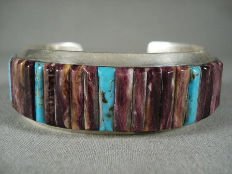 Absolutely Amazing Purple Spiny Oyster Native American Jewelry Silver Bracelet-Nativo Arts