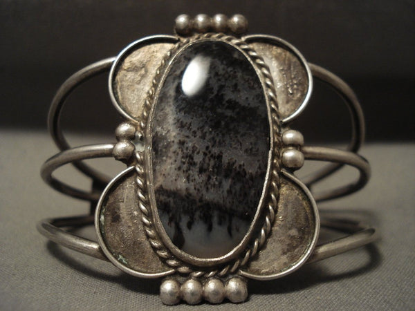 Early 1900's Vintage Navajo Petrified Wood Sterling Native American Jewelry Silver Bracelet