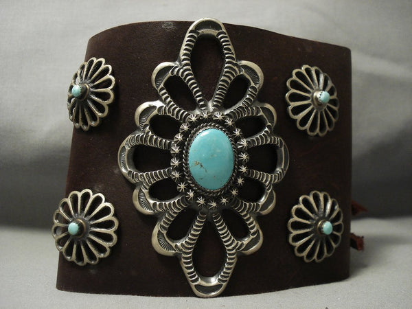 Huge Modernistic Navajo Turquoise Native American Jewelry Silver Ketoh Bracelet