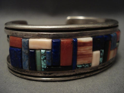 Important Old Navajo inlay Genius Native American Jewelry Silver Bracelet-Nativo Arts