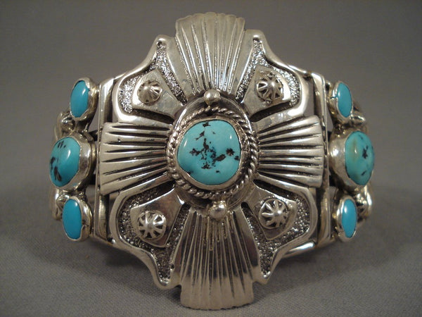 Incredible Vintage Navajo Sb Turquoise Sterling Native American Jewelry Silver Bracelet
