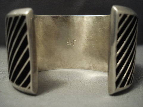Opulent Famous Artist Vintage Navajo Johnny Mike Begay Sterling Native American Jewelry Silver Bracelet-Nativo Arts