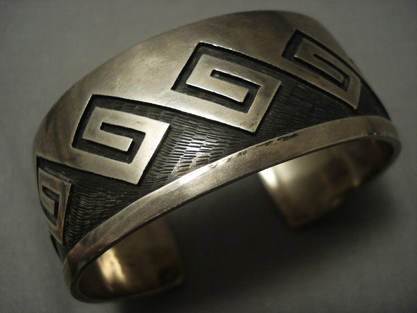 Quality Vintage Hopi Guild Sterling Native American Jewelry Silver Geometric Bracelet Old