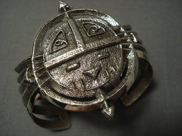 Symbolic And Important Navajo Sterling Native American Jewelry Silver Sun Bracelet