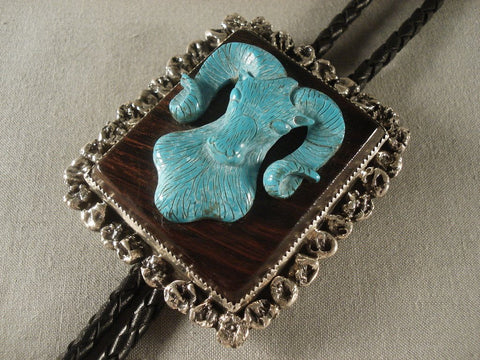 Very Rare Vintage Taos Turquoise Native American Jewelry Silver Bolo Tie Old Vtg-Nativo Arts