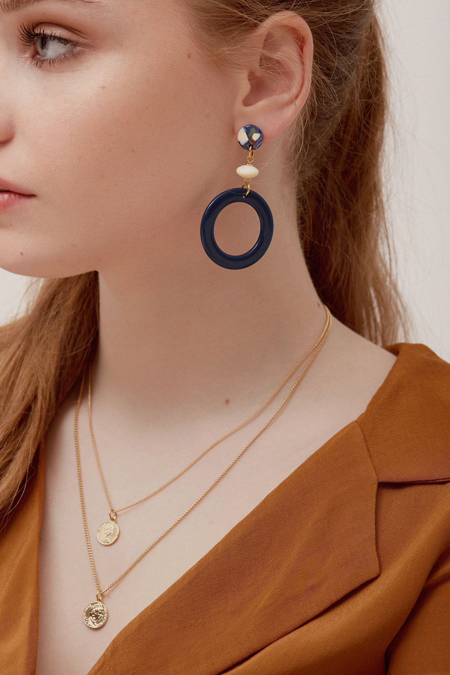Bologne Earrings in navy and cream (SD1468)