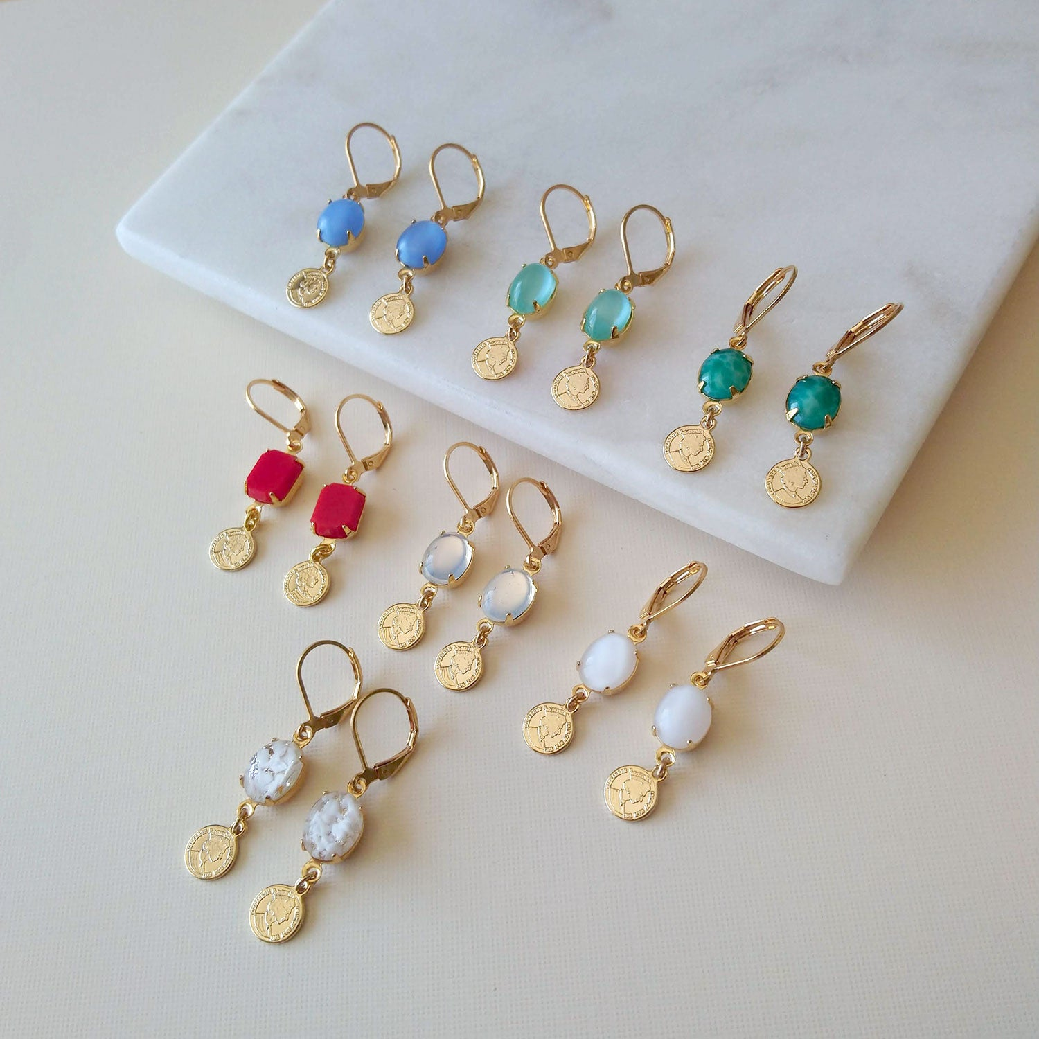 charm earrings in different colors