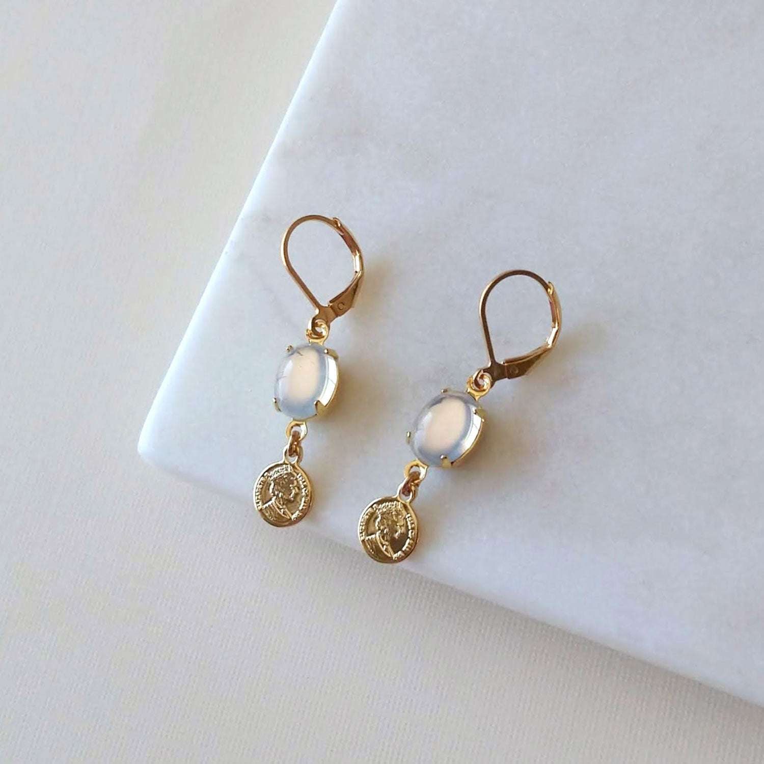 lucky charm earrings coin