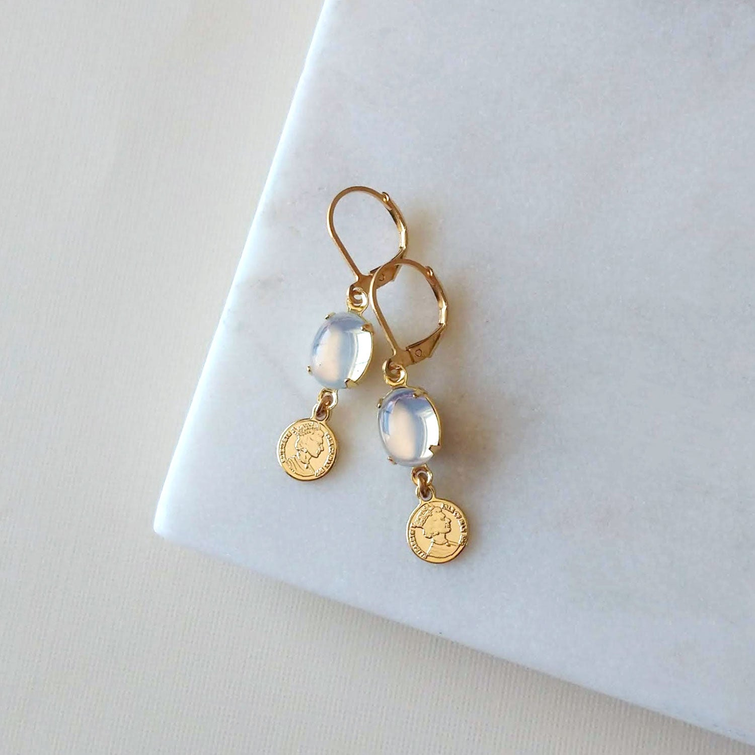 opal white earrings
