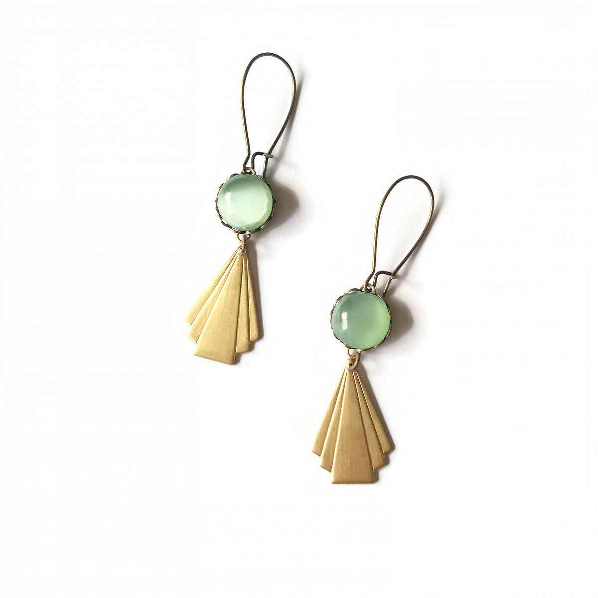 art deco style earrings in opal green