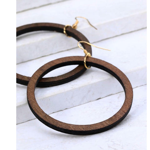 Wood Ring Earrings