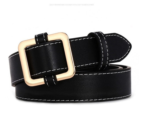 Women Belts - HOT Circle Pin Buckles Belt female deduction side gold buckle jeans wild belts for women fashion students simple casual trousers