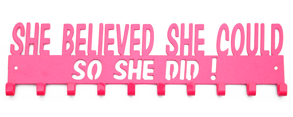 She Believed She Could So She Did Pink Sparkle 10 Hook Medal Hanger