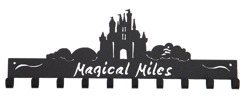 Disney Magical Miles Castle 10 Hook Black Medal Hanger