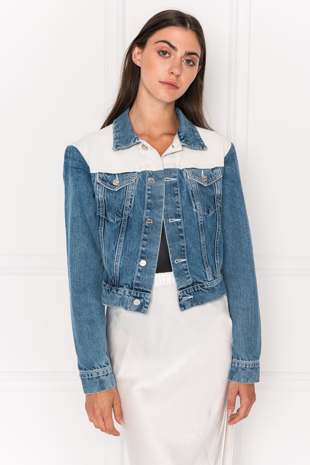 KARLY Leather Trimmed Jean Jacket