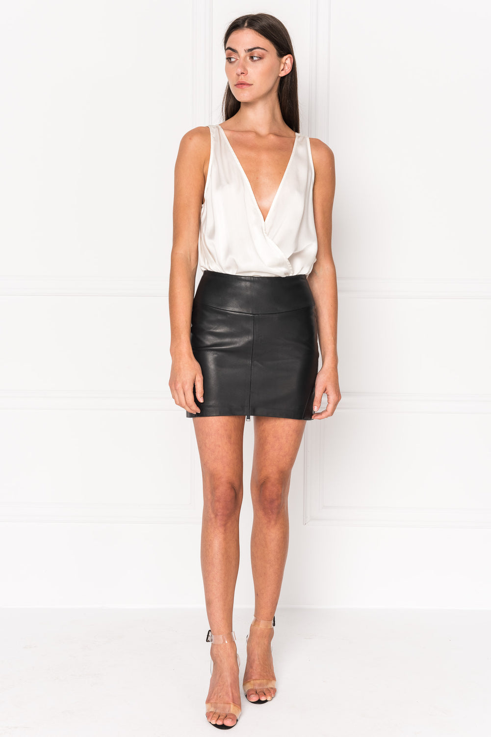 INA Leather Zip Up Mini Skirt