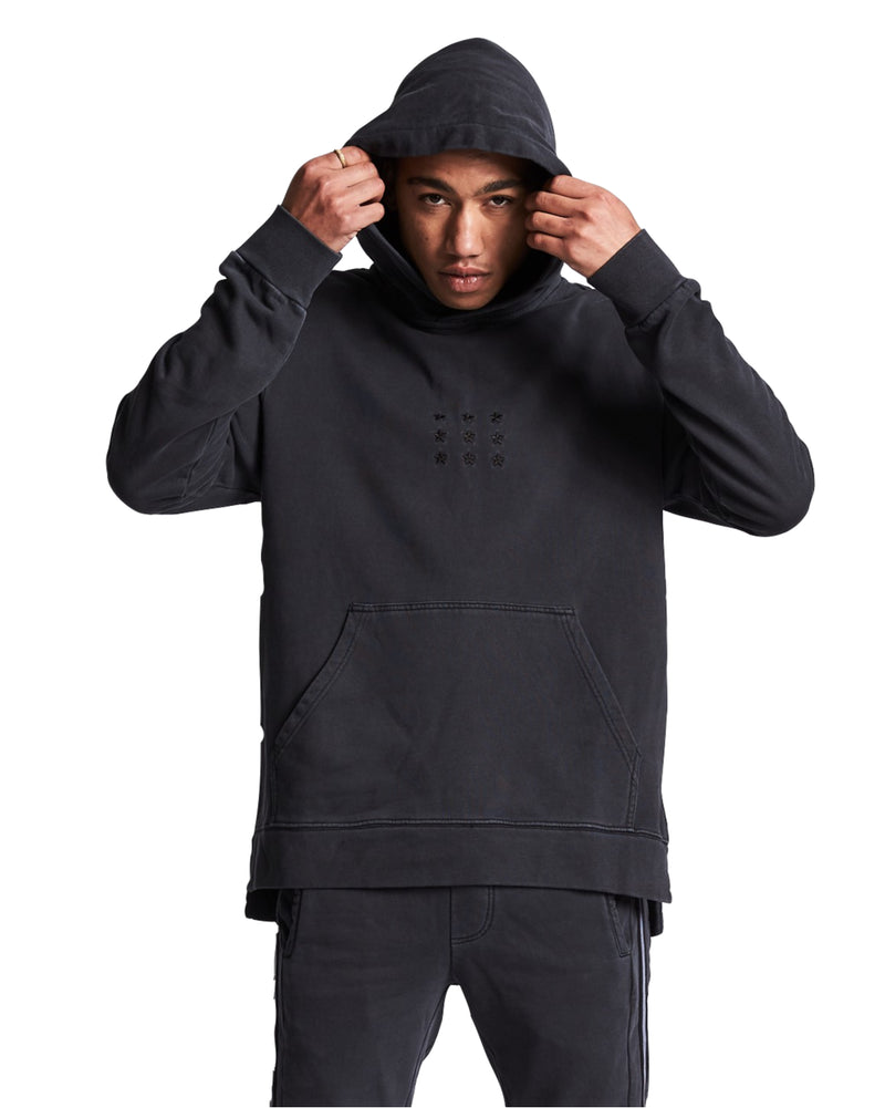 Nena And Pasadena - Last In Line Step Hem Hooded Sweat - Pigment Black