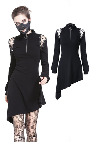DW218 Punk zippered hollow shoulder dress