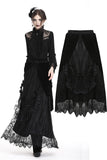 KW133BK Gothic black wave velvet lace maxi skirt