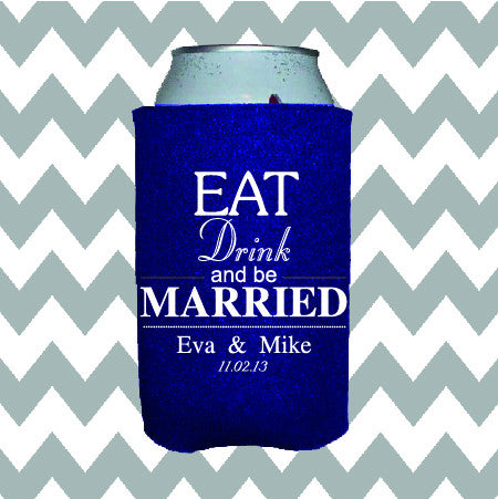 Wedding Can Insulators - Eat Drink and Be Married  - Qty. 100 - Wedding Favors Plus - 1