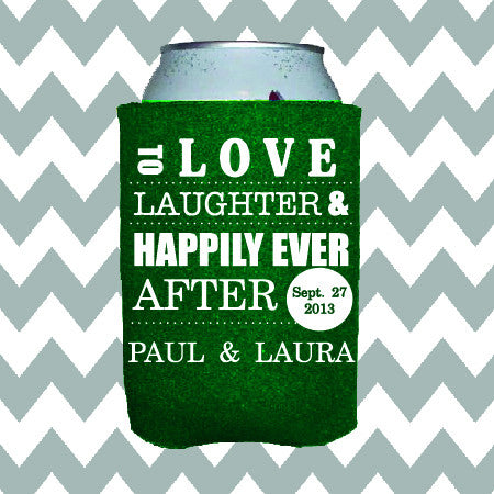 Wedding Can Insulators - Love Laughter and Happily Ever After  - Qty. 100 - Wedding Favors Plus - 1