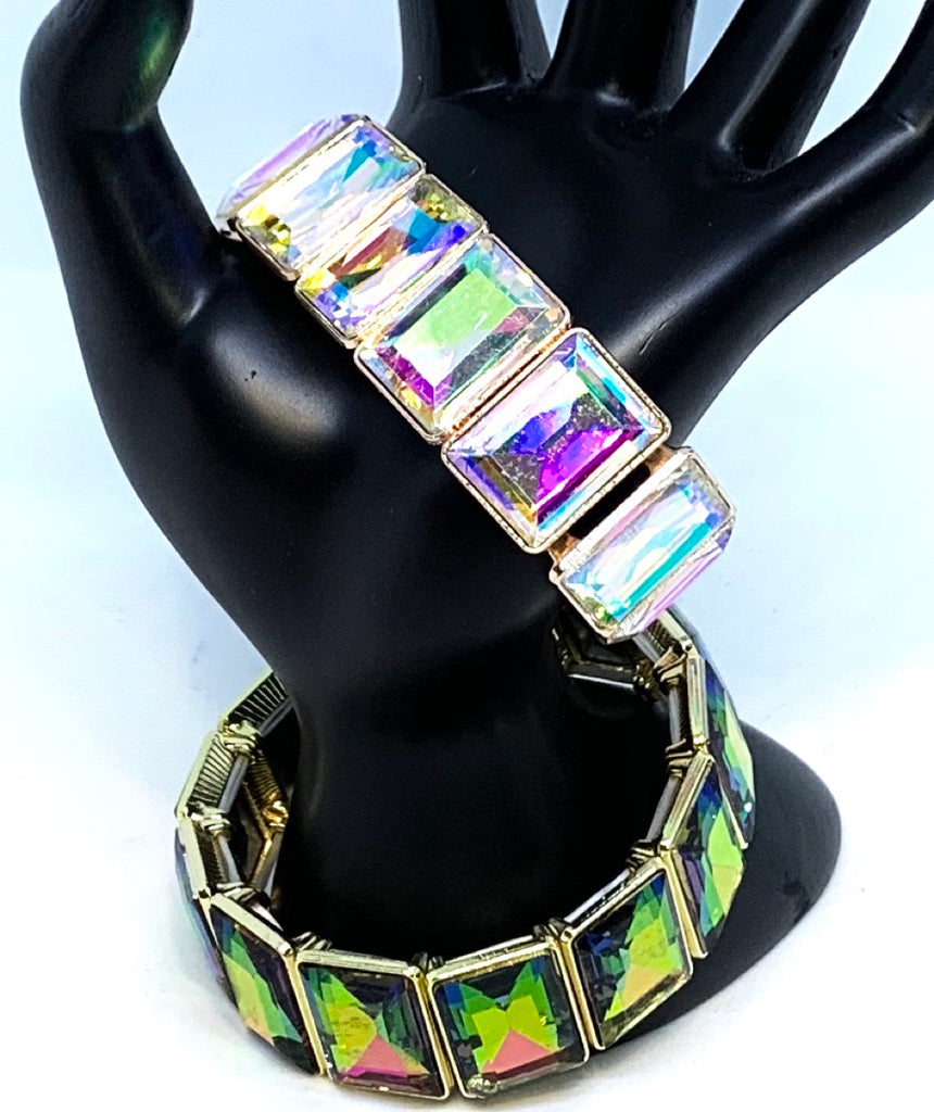 Holographic Glass and Metal Stretch Bracelet