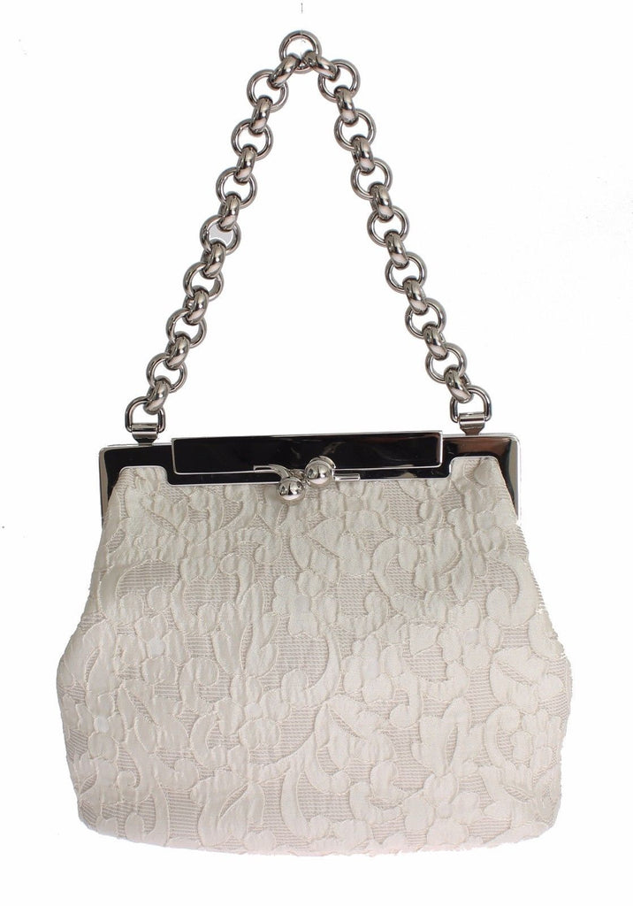 Dolce & Gabbana Sara White Lace and Brocade handpurse