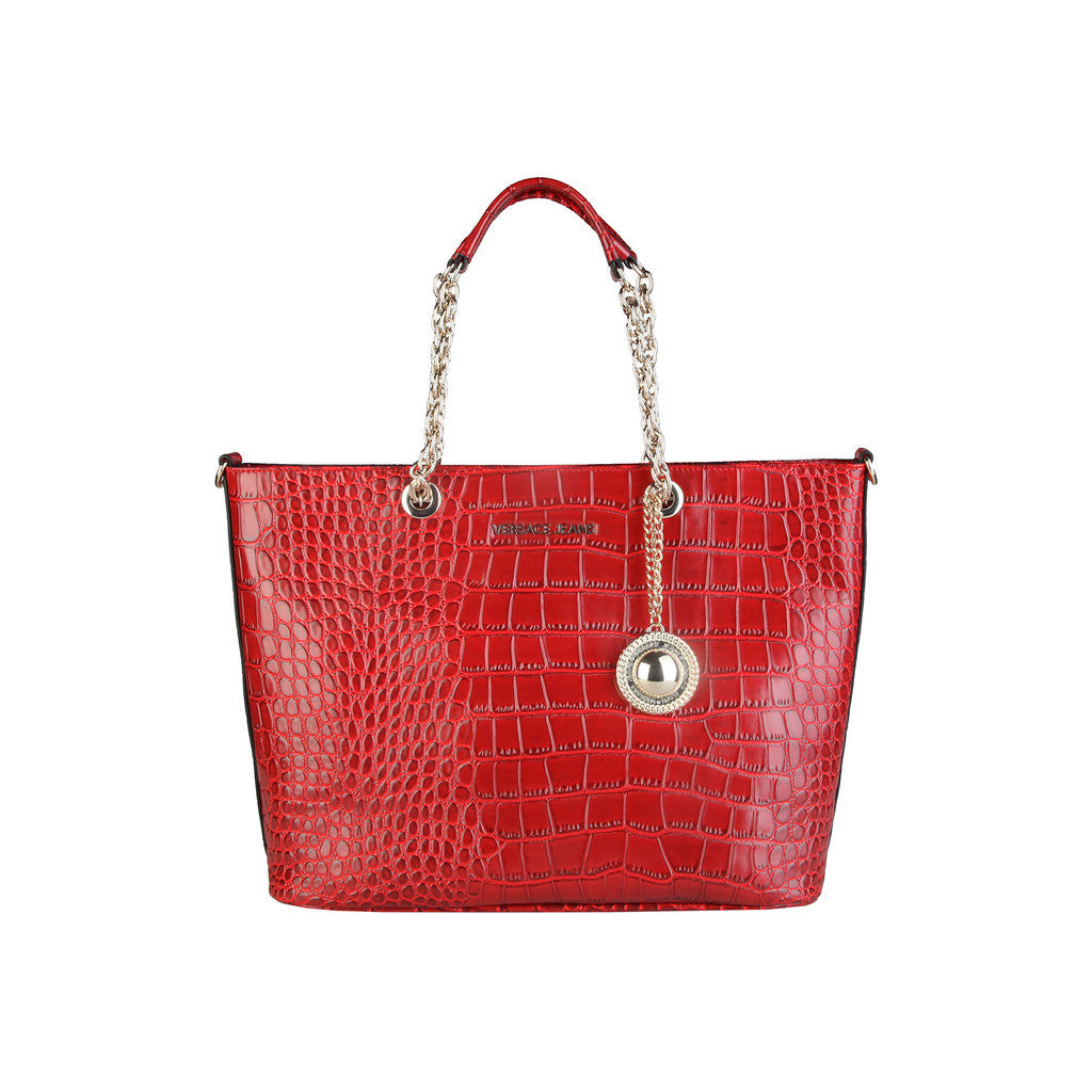 Versace Jeans, red textured handbag