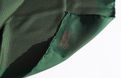 'Sold' CHARVET Place Vendome Green Red Polka Dot Silk Twill Pocket Square Scarf 18.5""