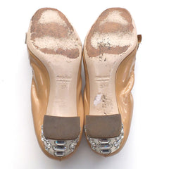 MIU MIU Beige Tan Nude Patent Leather Bow Open Toe Crystal Heel Scrunch Pumps 37