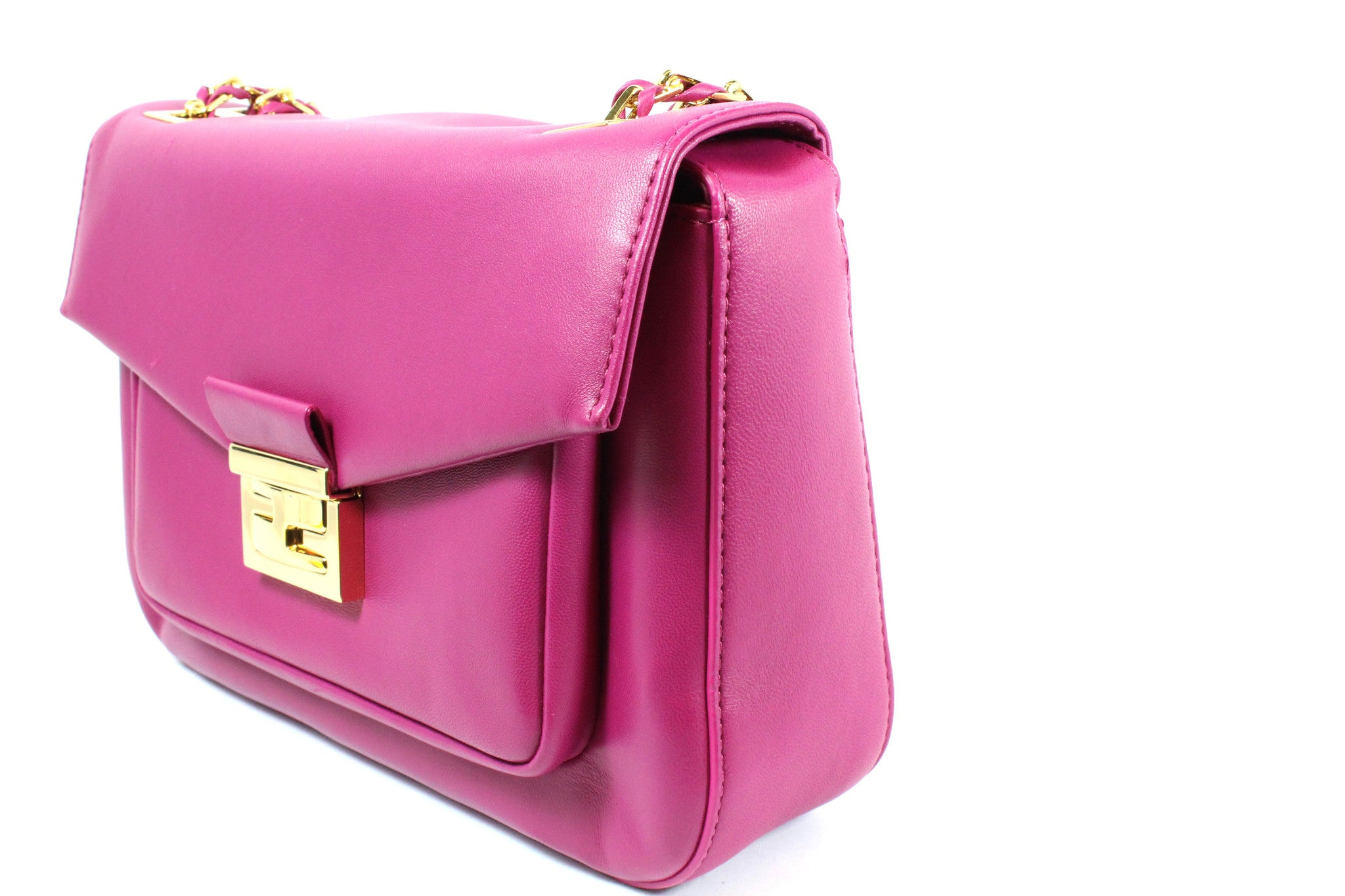 Fendi Cyclamen Pink Leather Logo Buckle 'Be Baguette' Bag - Encore Consignment - 2