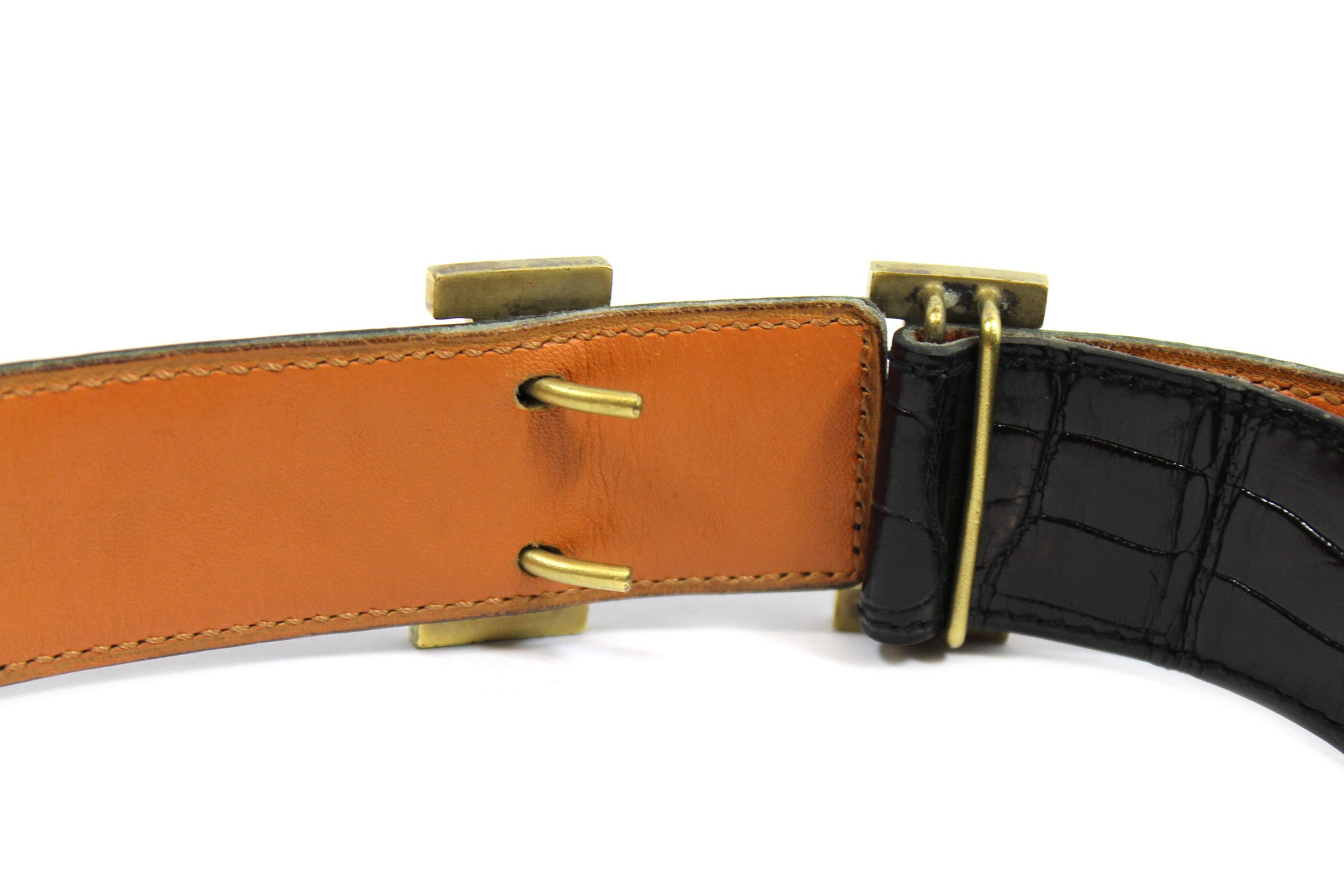 ~done~ Hermes Black Crocodile Belt w/ Gold Logo Buckle - Encore Consignment - 8