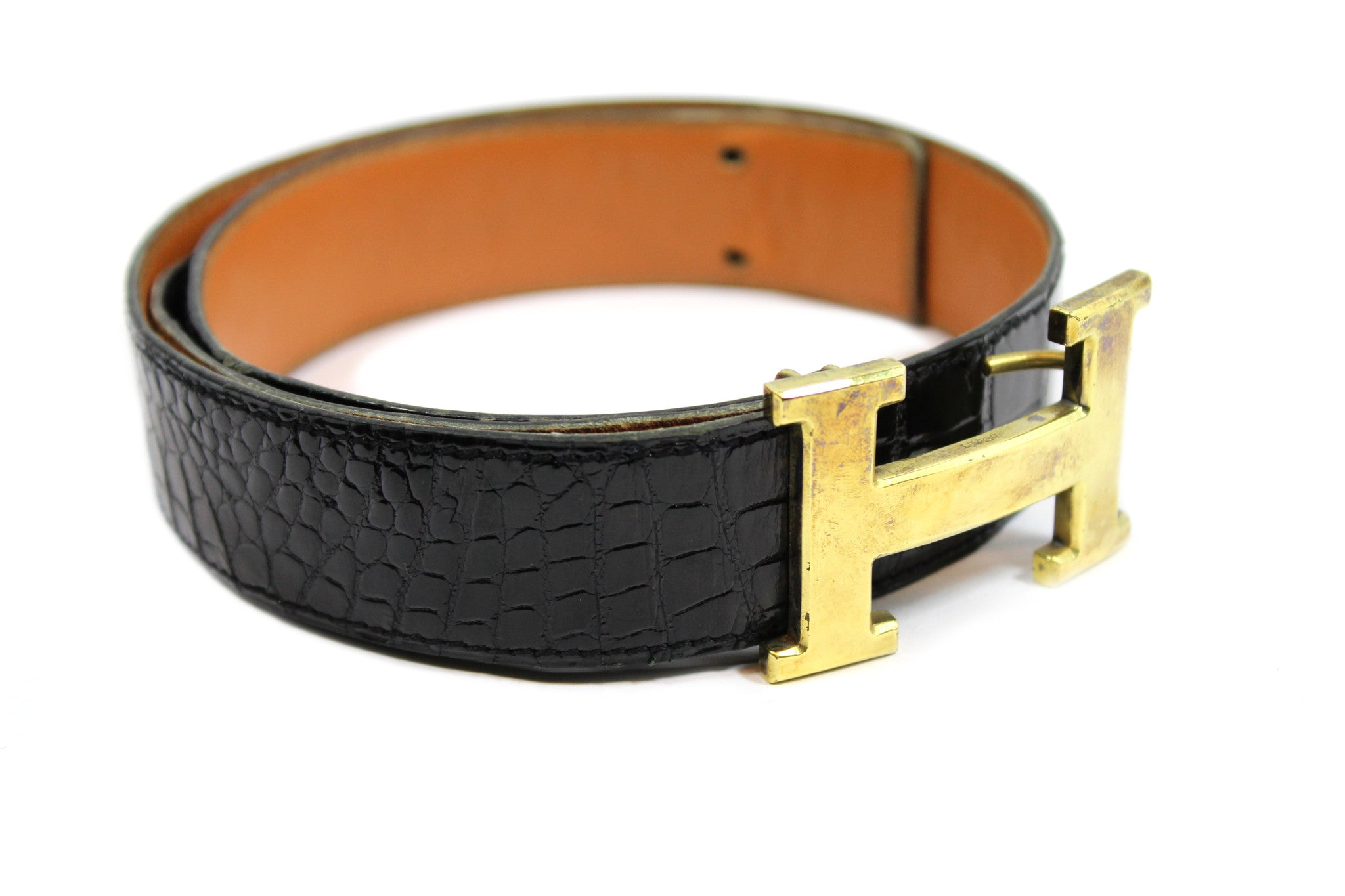 ~done~ Hermes Black Crocodile Belt w/ Gold Logo Buckle - Encore Consignment - 4