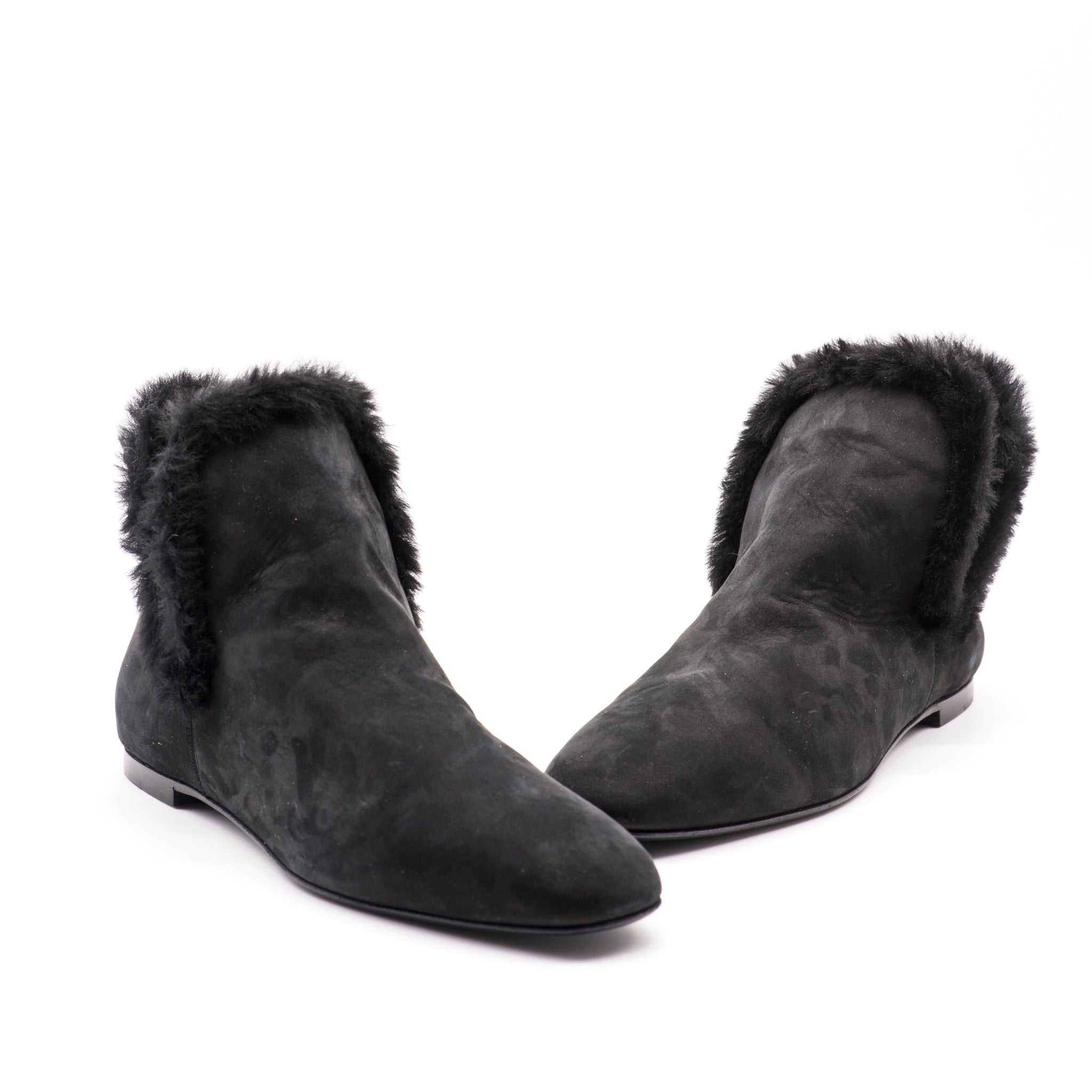 'Sold' THE ROW Eros Black Shearling Trimmed Nubuck Suede Square Toe Ankle Boots 38.5 GC