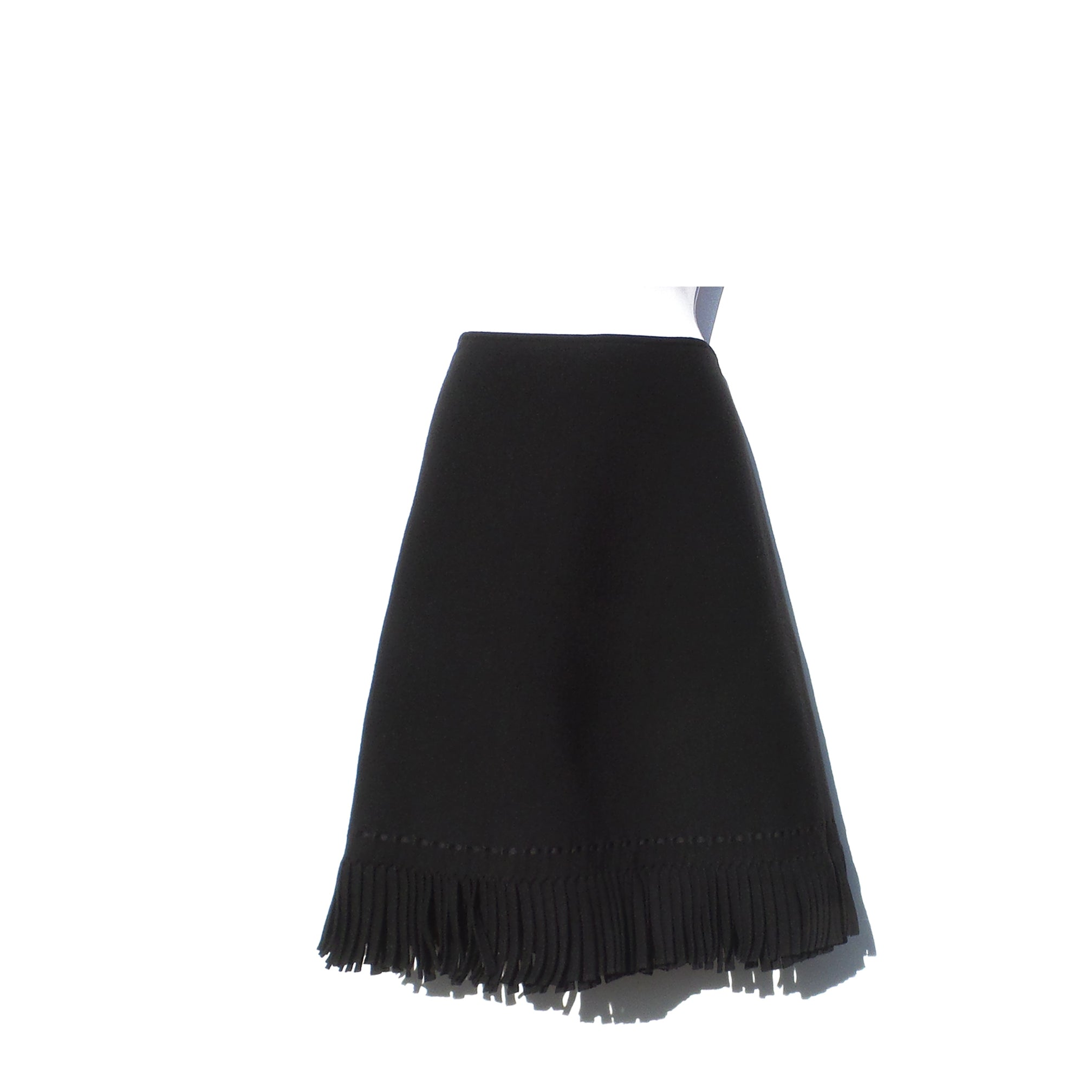 ALAÏA AW17 Black Wool Viscose Double Layer Fringe Trim A-Line Skirt FR 44 $2140