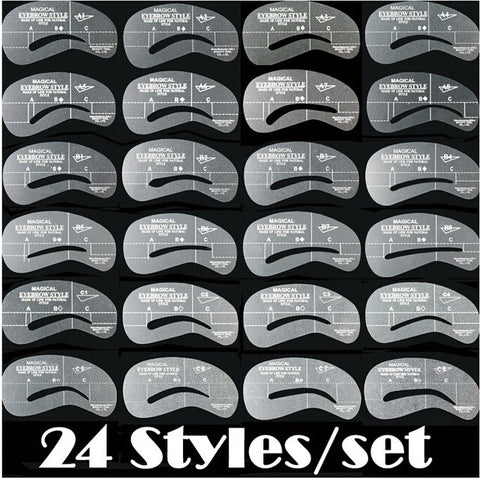 24pcs/set Grooming Stencil MakeUp Shaping DIY Beauty Eyebrow Template Stencils Make up Tools Accessories - Shop4Dancer