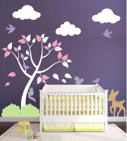 Baby Room Decor With Tree, Clouds, And Forest Animal Decals